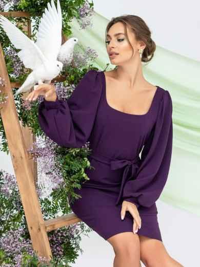 Приталенное платье с квадратным вырезом фиолетовое 45002, фото 1