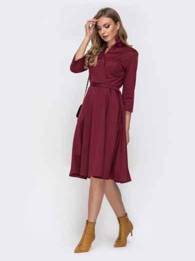 Трикотажное платье с накладными карманами бордовое 42293, фото 2