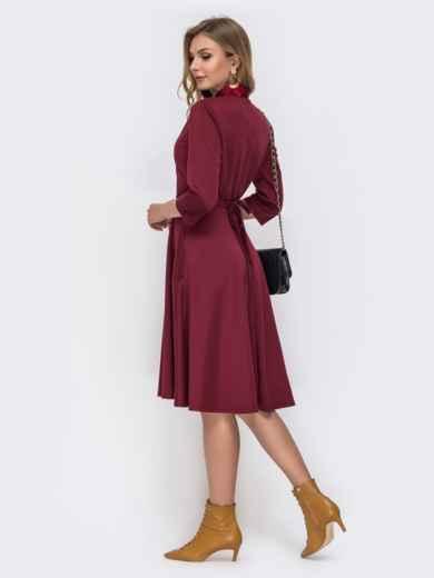 Трикотажное платье с накладными карманами бордовое 42293, фото 3