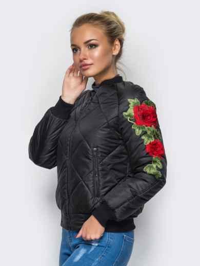 Демисезонная куртка с вышивкой на рукаве чёрная 15183, фото 1