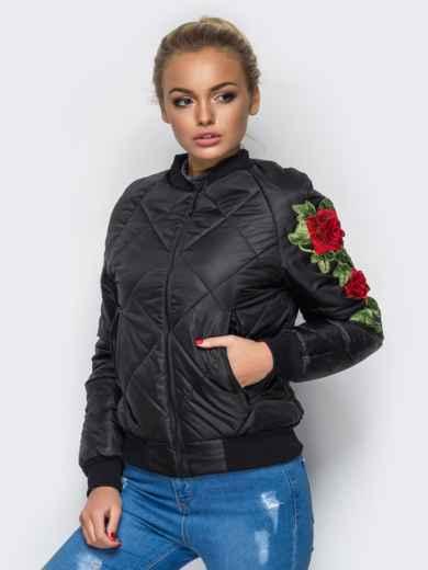 Демисезонная куртка с вышивкой на рукаве чёрная 15183, фото 2