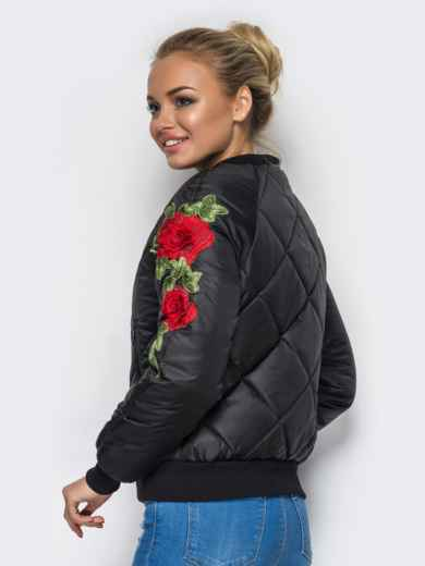 Демисезонная куртка с вышивкой на рукаве чёрная 15183, фото 3