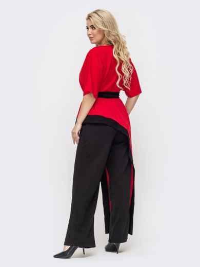 Красный комплект батал с асимметричной блузкой и брюками-клеш 50737, фото 2