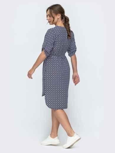 Темно-синее платье свободного кроя с принтом 46949, фото 2