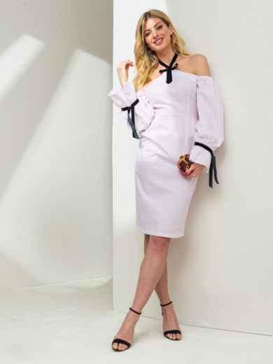 Белое платье с принтом и открытыми плечами 46775, фото 1