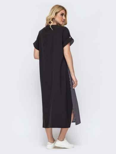 Черное платье батал свободного кроя в полоску 49294, фото 2