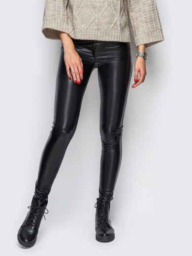 Эко-кожаные лосины без застёжек чёрные 10651, фото 1