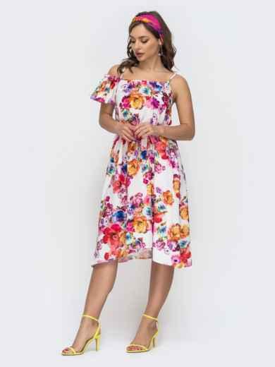 Молочное платье в цветочный принт на узких бретелях 46781, фото 2