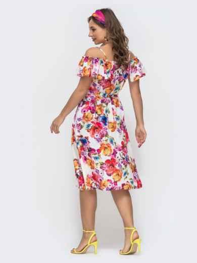 Молочное платье в цветочный принт на узких бретелях 46781, фото 3