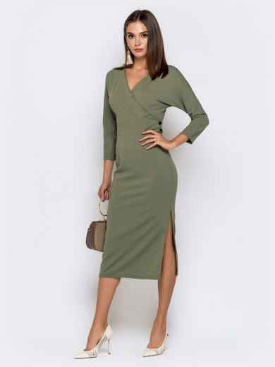 Обтягивающее платье цвета хаки с разрезом 41034, фото 2