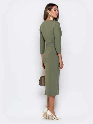 Обтягивающее платье цвета хаки с разрезом 41034, фото 3