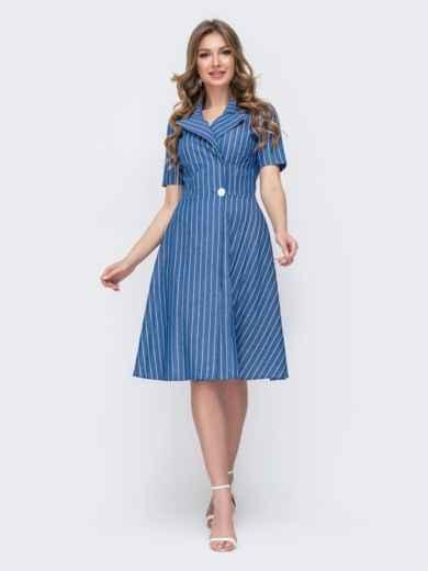 Платье из джинса в полоску с расклешенной юбкой синее 46776, фото 1