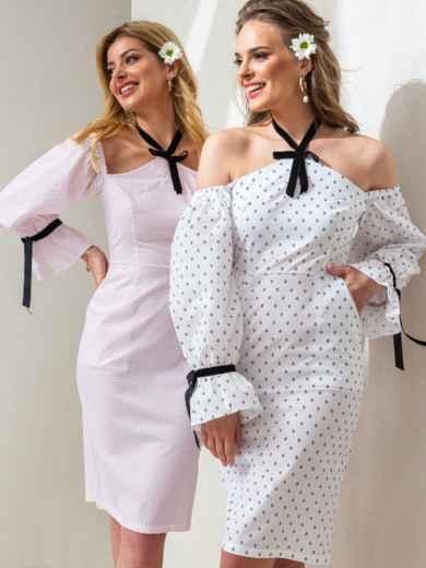 Платье с принтом и открытыми плечами белое 46774, фото 1