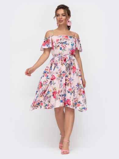 Пудровое платье в цветочный принт на узких бретелях 46782, фото 2