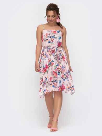 Пудровое платье в цветочный принт на узких бретелях 46782, фото 3