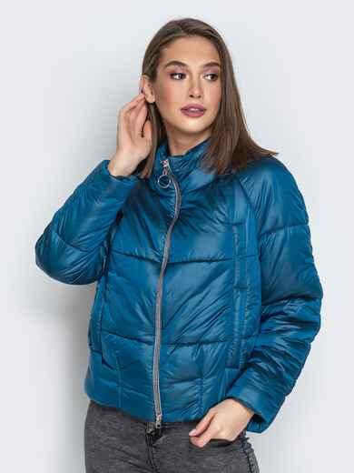 Укороченная куртка с воротником-стойкой и карманами синяя 20308, фото 1