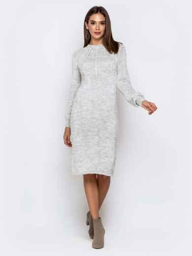 Вязаное платье-миди с косами по лифу светло-серое 41157, фото 2