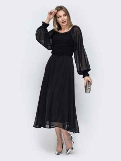 Расклешенное платье из шифона чёрного цвета 45359, фото 1