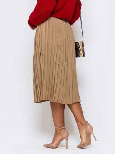 Вязаная юбка-плиссе бежевого цвета 41191, фото 2