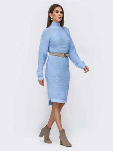 Вязаное платье в воротником-стойкой голубое 41572, фото 2