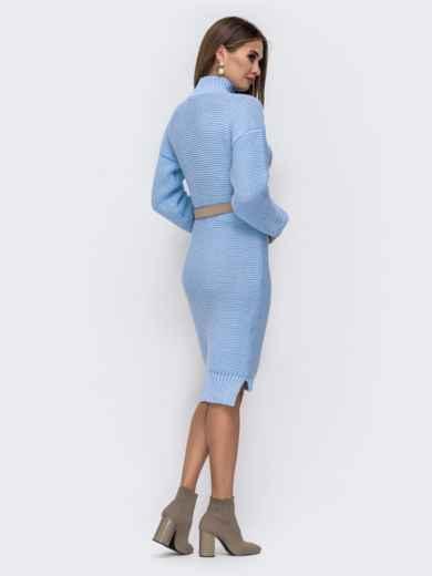 Вязаное платье в воротником-стойкой голубое 41572, фото 3