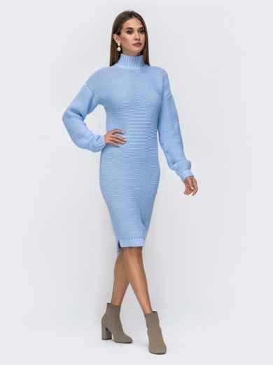 Вязаное платье в воротником-стойкой голубое 41572, фото 4