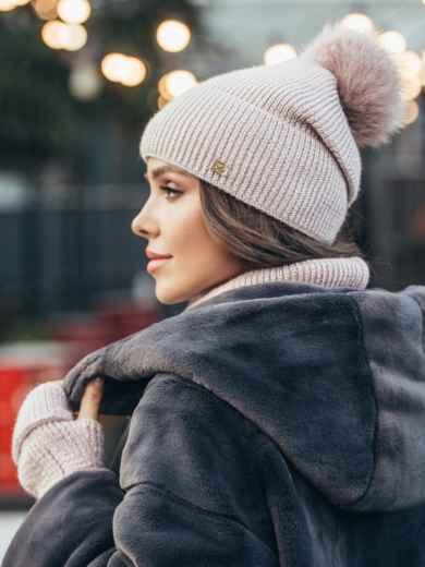 Зимний комплект-тройка с шапкой и хомутом пудровый 51125, фото 2