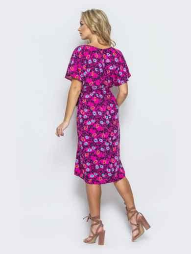 Хлопковое платье свободного кроя пестрой расцветки 12561, фото 3