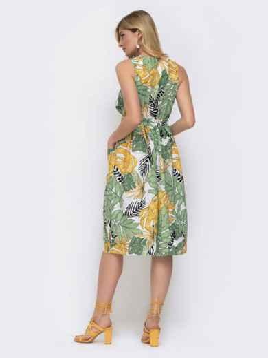 Принтованное платье на запах с отрезом по талии 48038, фото 3