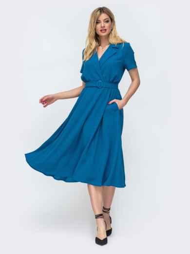 """Приталенное платье-миди из льна """"жатка"""" синее 46835, фото 1"""