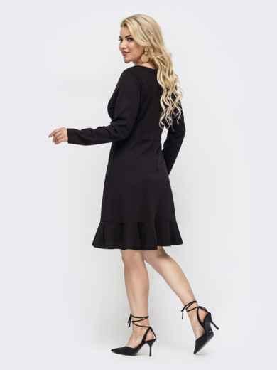 Расклешенное платье батал с квадратным вырезом чёрное 50871, фото 2