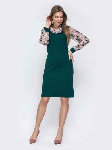 Зеленое платье с контрастными рукавами 45768, фото 1