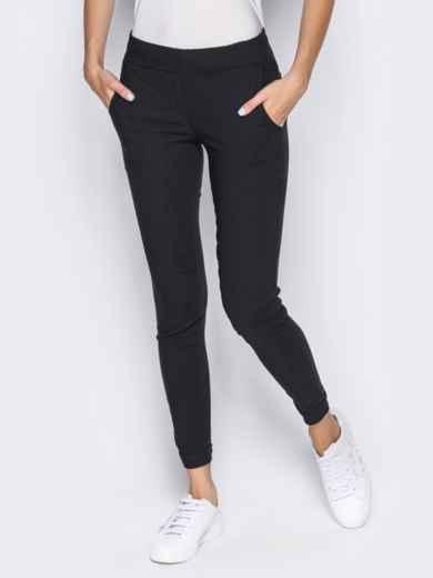 Брюки из стрейч-коттона с карманами в швах черные - 14406, фото 2 – интернет-магазин Dressa