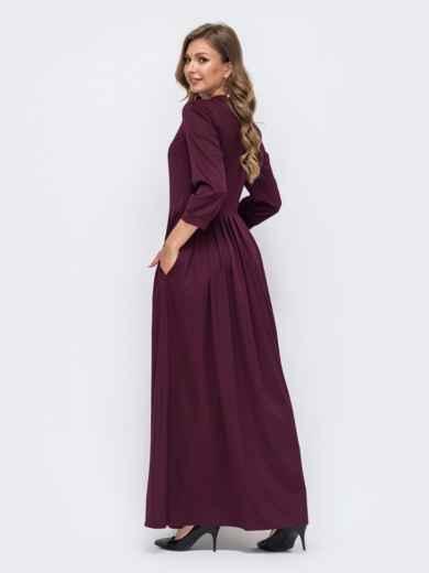 Платье-макси фиолетового цвета с пуговицами по полочке  50332, фото 2