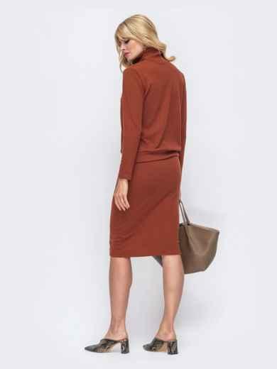 Терракотовый комплект из юбки и кофты с высоким воротом 50330, фото 3
