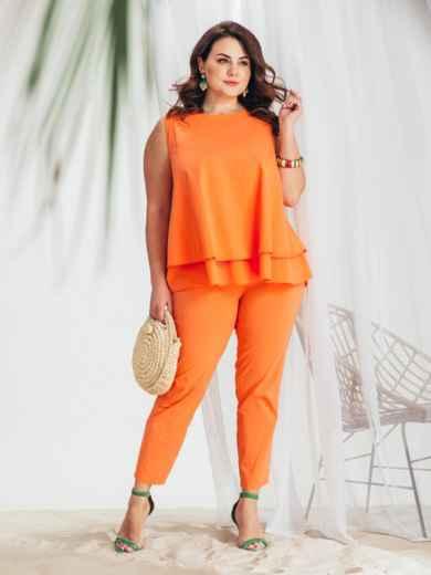 Оранжевый комплект большого размера из блузки и брюк 48023, фото 1
