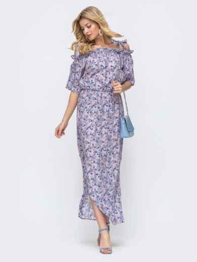 Платье-макси с принтом и напуском по талии фиолетовое 46832, фото 1