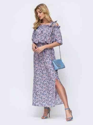 Платье-макси с принтом и напуском по талии фиолетовое 46832, фото 2