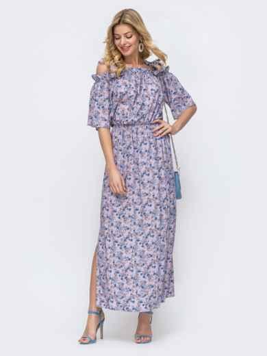 Платье-макси с принтом и напуском по талии фиолетовое 46832, фото 3