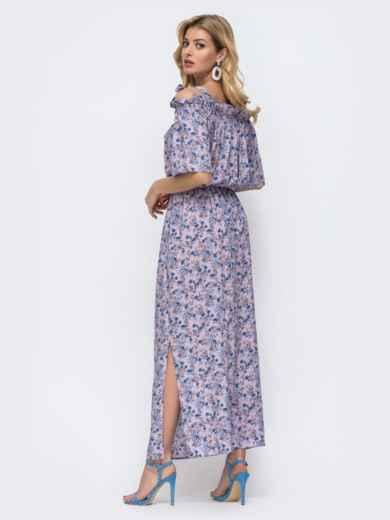 Платье-макси с принтом и напуском по талии фиолетовое 46832, фото 5