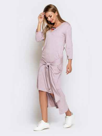 Платье со шлейфом и накладными карманами пудровое 41030, фото 2
