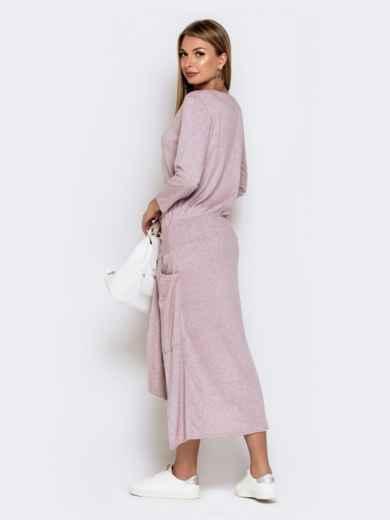 Платье со шлейфом и накладными карманами пудровое 41030, фото 3