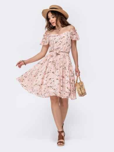 Розовое принтованное платье с открытыми плечами 48545, фото 2