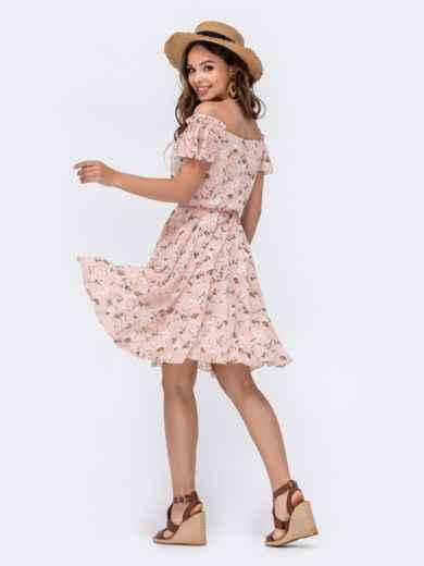 Розовое принтованное платье с открытыми плечами 48545, фото 3