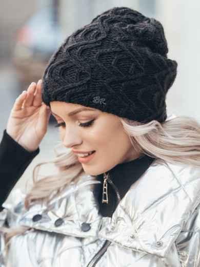 Демисезонная шапка-бини с узором чёрная 51093, фото 1