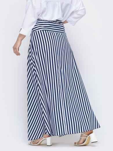Длинная юбка большого размера в тёмно-синюю полоску 46496, фото 2