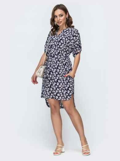 Темно-синее платье свободного кроя с принтом 46950, фото 2