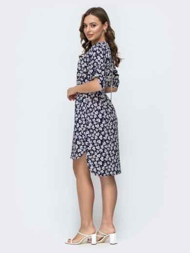 Темно-синее платье свободного кроя с принтом 46950, фото 3