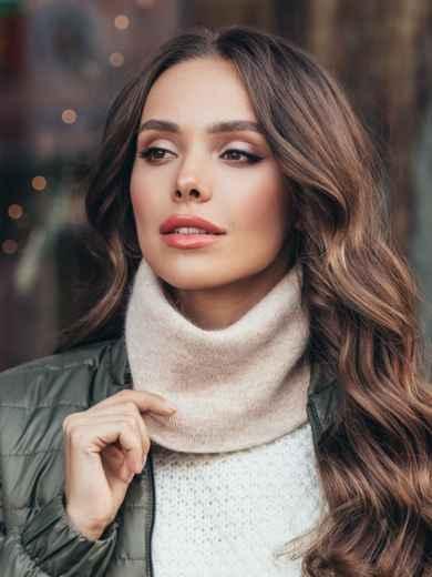 Тонкий шарф-хомут из мягкой ангоры молочный 51086, фото 1