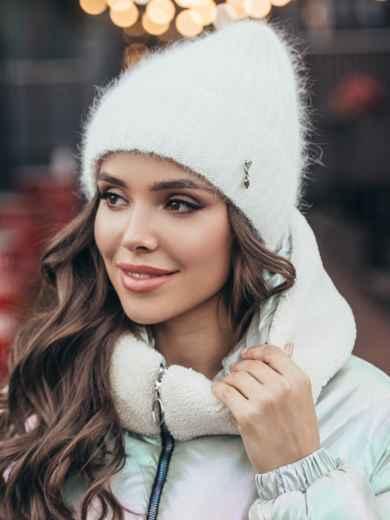 Зимняя шапка-бини на флисе белая 51089, фото 1